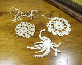 Set of Three (3) Unfinished Practice Doilies - Off White and Ecru