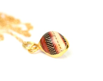 Nerite shell necklace - zebra shell - sea shell necklace - a gold lined red and white striped shell on a 14k gold vermeil chain