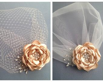 Birdcage Veil, Bridal Fascinator, Vintage Style Veil, Bridal Veil, Blusher Veil, Champagne Fascinator,  Wedding Headpiece, Flower Hair Clip