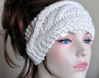 Cabled Earwarmer Braided Crochet Headband Headwrap Ear warmer Crochet Knit CHOOSE COLOR Fisherman Off-White Beige Irish Hat Cozy Winter Gift