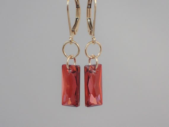 Crystal Red Magma Baguette Earrings,  14k Yellow Gold Filled