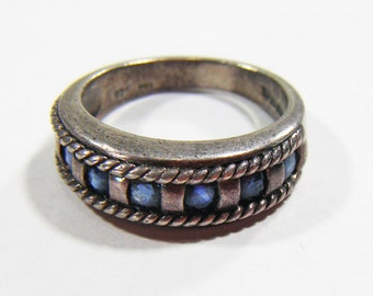 Vintage Silver 925 Ring w/ Blue Stones Size 5 3/4