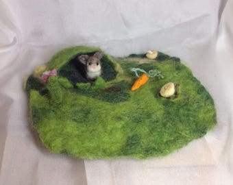 Waldorf inspired little play mat with a bunny ,story mat, wet felted