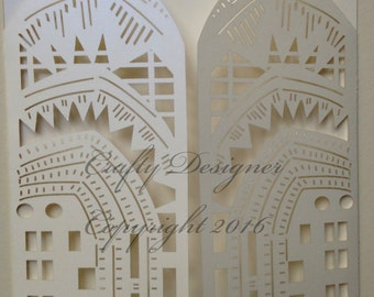Art Deco Style Bespoke Design Laser Cut Invitation CD007 x 30 Units