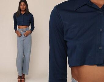 Crop Top Retro Shirt 70s Cropped Shirt Button Up Navy Blue Blouse Long Sleeve Shirt Hipster Small Medium