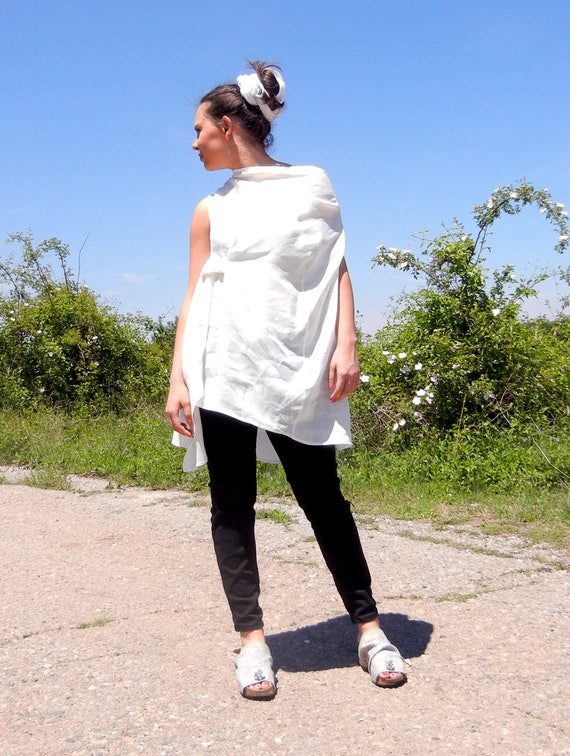 Linen Baggy White Summer Top, Original Strap Open Back Tunic, Halter Top Tunic, Asymmetric Kaftan Top, Extravagant Caftan Top