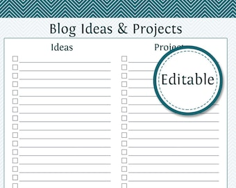 Blog Ideas and Projects - Fillable - Instant Download - Printable PDF