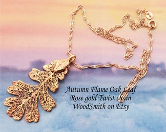 Real Leaf Jewelry, Oak leaf,  Autumn Rose Gold patina, necklace pendant by Natures Leaves