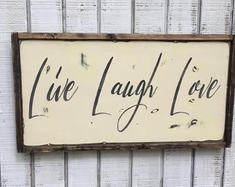 Live Laugh Love. IN STOCK,rustic sign, house warming gift, christmas gift, gift for her, farmhouse signs, rustic decor, wood sign, wood