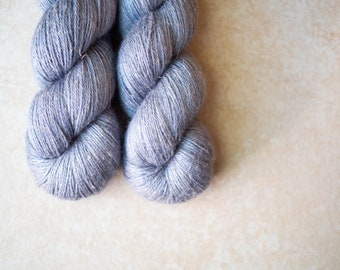 SALE - Alpaca+Silk+Linen sock yarn - hand dyed - OOAK Gray-Blue