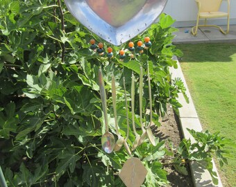 DELIGHTFUL SOUND - Antique Silverware Wind Chimes - Heart and Friends Theme - Real Azurite Orange Agate and Cultured Pearl Beads