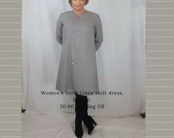 Women's Linen knee length shift dress grey size 16 UK 12US EU 44