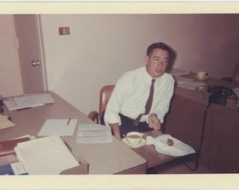 Coffee & Donut, 1963: Vintage Snapshot Photo [85674]