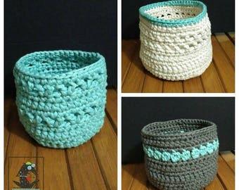 crochet pattern, pattern for three baskets, crochet basket