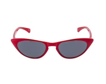 1950s 60s style CAT EYE sunglasses NEW made to original vintage design 'Peggy'' Rockabilly Lipstick Red