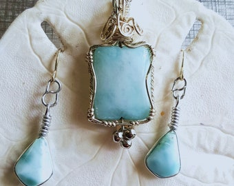 Larimar Pendant and Earring Set, Sterling Silver Wire Wrapped Pendant, Sky Blue Pendant, Handmade Mothers Day Pendant Necklace Gift
