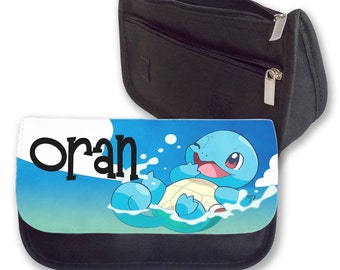 Personalised Pokemon Squirtle Kids Add your Name Pencil Case Make Up Bag Back To School