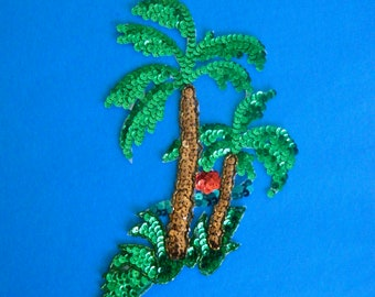 Vintage Palm Trees Sequin and Bead Applique New