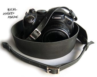Leather Camera Strap Personalized Leather DSLR SLR Custom Name Photographer Gift Birthday Gray Camera Strap Leather Personalized gift