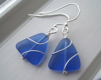 Cobalt Blue Earrings - Cultured Sea Glass Earrings - Royal Blue Jewelry - Wire Wrapped Jewelry  - Triangle Earrings - Recycled Glass Earring