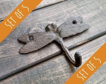 Set of 5 Dragonfly Hooks | Cast Iron Hook | Garden Hook | Rustic Hook | DIY Decor | Nursery Hook | Set of Wall Hooks | Coat Rack Kit