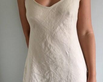 Bias linen slip dress