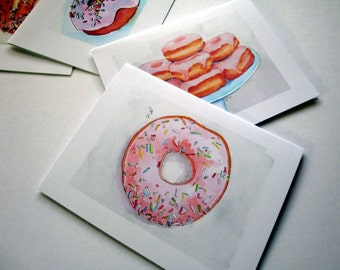Donut Cards - Doughnut Card Set - Donut Watercolor Art Notecards - Breakfast Food Greeting Cards Stationery Set - Set of 4