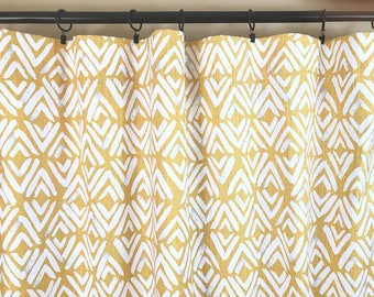 READY To Ship. 10% OFF Brazilian Yellow Fearless. Yellow Drapery Panels. Pair of Two. 108 Length. Yellow Curtains. Window Treatments.