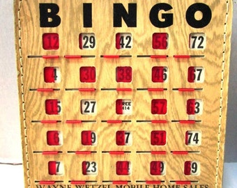 1 Vintage Faux Wood Bingo Card, 1960s, Old Fashioned Fun, Florida Community Bingo Advertising Cards, USA Upcycle Assemblage Art Craft Supply