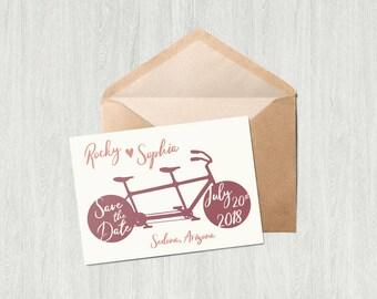 Tandum Bike Wedding Save the Date Card - Printable
