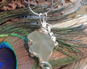 Frosted White Sea Glass Necklace - Wire Wrapped Jewellery - Sea Glass Pendant Necklace - Genuine Sea Glass Necklace