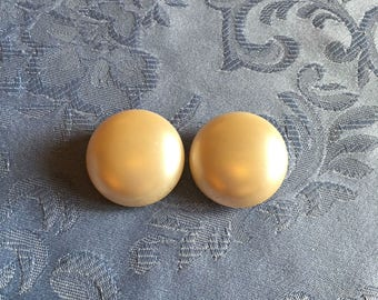 Vintage 1960s Pearled Button Clip On Earrings