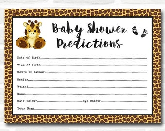 Baby Shower Games Giraffe Animal Print Predictions Cards