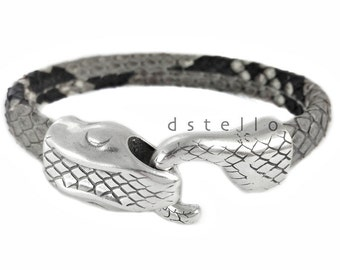 Ouroboros mens bracelet - Authentic Python snake skin with snakehead clasp - Ouroboros gift jewelry for men - Serpent cuff