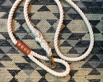 6-8Ft. Organic Cotton Rope Leash Lg. Breed with Recycled Leather Accent or Handle