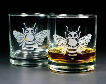 Honey Bee Lowball Glasses - Set of 2
