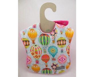 Baby girl bib, baby bib, leak proof bib, 1st birthday bib, hot air balloon bib, shower gift, rainy day, ready to ship, air balloons, sky