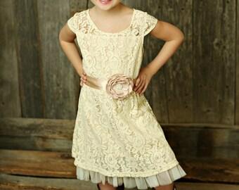 Cream flower girl dress, lace baby dress, rustic flower girl dress, country flower girl dress, lace girls dresses, flower girl dress.