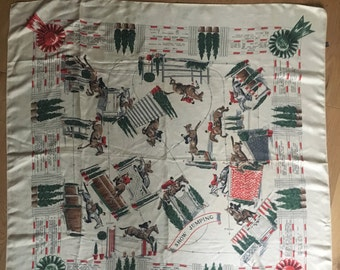Show Jumping Horse Vintage Silk Scarf Signed Lorraine