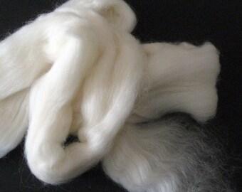 Ecru/Undyed/Natural Shetland wool roving (combed top), spinning fiber - 4 ounces
