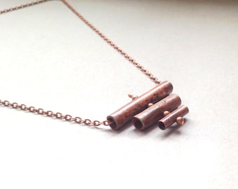 Lateral Copper Tubes Necklace - Geometric Necklace - Metal Tube Necklace - Antiqued Copper Chain - LyricRabbit