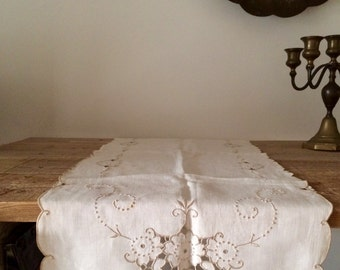 Vintage Natural Linen and Taupe Embroidered Runner