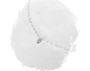 Sterling Silver mini oval cz, dainty necklace, minimalist choker, simple necklace  EN003