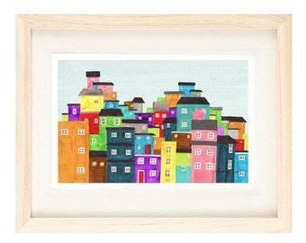 RIO DE JANEIRO, Brazil - 5 x 7 Colorful Illustration Art Print Of A Favela, Wall Decor, Green, Blue, South America