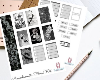 Black and White Monochromatic Floral Planner Sticker Kit  |  Digital Download