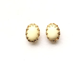 Ohrstecker,Earring Studs,ear studs,ivory,elfenbein,creme,Gold Edge Post,Bridesmaids Gift