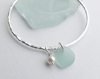 Scottish Sea Glass, Fresh Water Pearl Sterling Silver Bangle