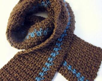 Mens Brown Knit Scarf - Boyfriend Scarf - Mens Winter Scarf - Gift for Dad