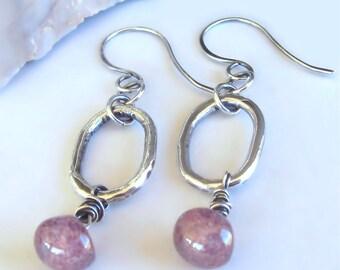 Sterling Silver Earrings Pink Czech Glass Mushroom Beads Fine Silver Hoops