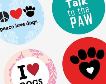 Dog Is Love - 1.313 Inch (33mm) Digital Collage Printable Sheet For Badges and Buttons -Instant Download -Buy 2 Get 1 Free -Digital Download